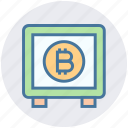 bank, bitcoin, blockchain, cryptocurrency, locker, money, safe icon
