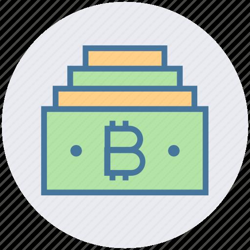 bitcoin, blockchain, cash, currency, dollar, money, notes icon