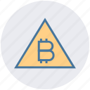 alert, bitcoin, cryptocurrency, digital currency, finance, money, triangle icon