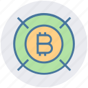 bitcoin, block chain, coin, cryptocurrency, finance, money, target icon