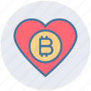 bitcoin, cryptocurrency, favorite, heart, like, love, rate icon