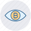 bitcoin, cryptocurrency, eye, finance, money, scan, vision icon