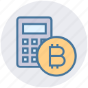 bitcoin, bitcoins, calc, calculator, currency, money, transfer icon