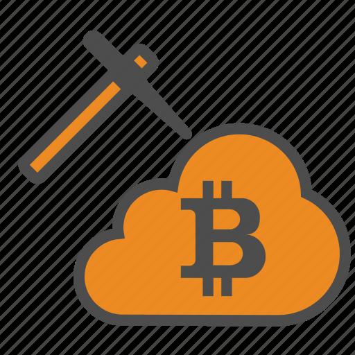bitcoin, bitcoins, blockchain, cloud, cryptocurrency, mining icon