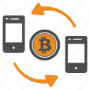 bitcoin, bitcoins, cel, mobile, money, transfer icon
