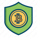 bitcoin, bitcoins, currency, money, safe, secure, security icon