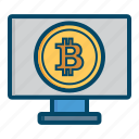 bitcoin, bitcoins, computer, currency, ecommerce, money icon
