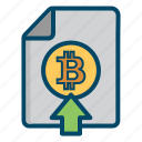 bitcoin, bitcoins, currency, document, money, upload icon