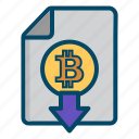 bitcoin, bitcoins, currency, document, download, money icon