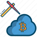 bitcoin, bitcoins, blockchain, cloud, cryptocurrency, mining icon