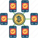 bitcoin, bitcoins, blockchain, copy, cryptocurrency, mining icon