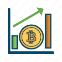bill, bitcoin, bitcoins, graph, money, price icon