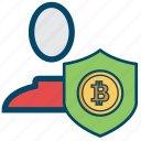 account, avatar, bitcoin, bitcoins, safe, security, user icon