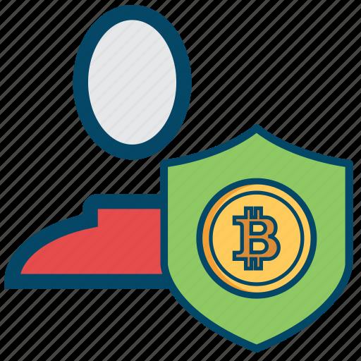 account, avatar, bitcoin, bitcoins, safe, security, user icon