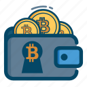 bill, bitcoin, bitcoins, money, safe, vash, wallet icon