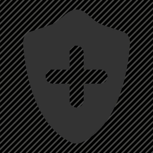 add, guard, insurance, safe, security, shield icon
