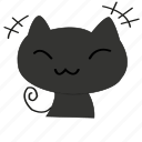 cartoon, cat, cute, shame, smile, smiley icon
