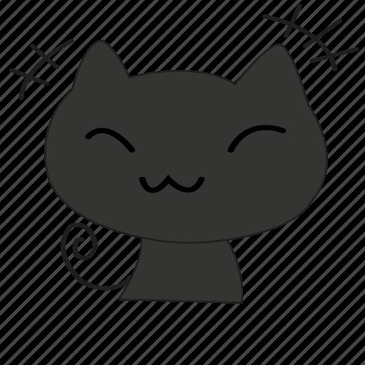 cartoon, cat, cute, shame, smile, smiley icon