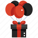 present, gift, balloon, surprise, box, birthday icon