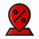 area, discount, hot, map, pin, sale, shopping icon