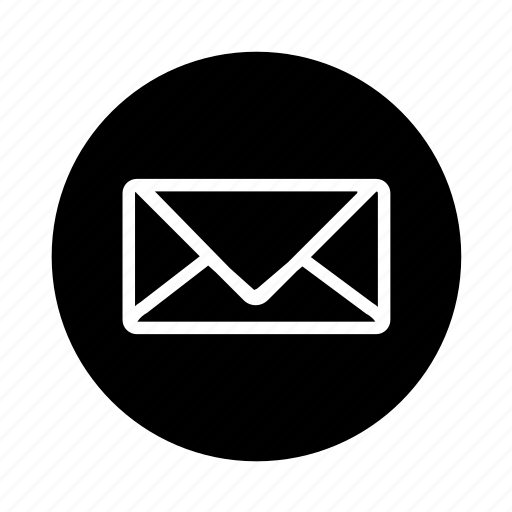 contact, envelope, letter, mail, mail adress, message, new message, round, send, stamp, web icon