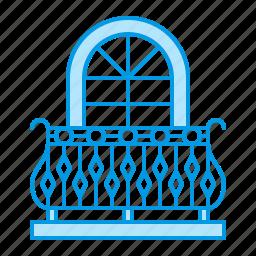balcony, blacksmith, metal, window icon