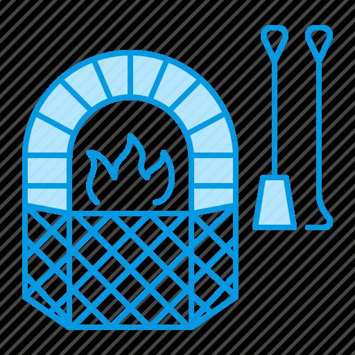 blacksmith, fireplace, grilles icon
