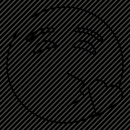 emoji, emoticon, face, kiss, love, smiley icon