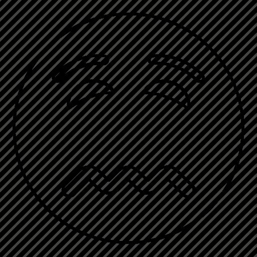 emoji, emoticon, face, nervous, sad, smiley icon