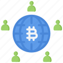 bitcoin, block, chain, cryptocurrency, network, user icon