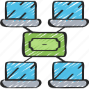 block, cash, chain, cryptocurrency, nodes icon