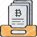 block, chain, crypto, currency, documents, records icon