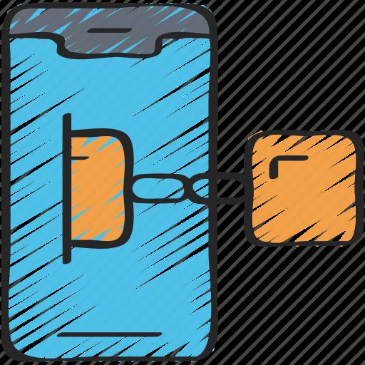 block, blockchain, chain, cryptocurrency, mobile icon