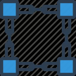 bitcoin, blockchain, connection, digital, fintech, network, technology icon