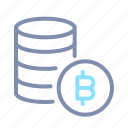 bitcoin, blockchain, cryptocurrency, data, database, server, storage icon