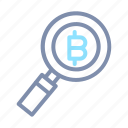 bitcoin, blockchain, cryptocurrency, digital, find, money, search icon
