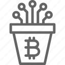 bitcoin, blockchain, closed, contact, cryptocurrency, network, pot icon