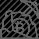 bitcoin, blockchain, cryptocurrency, internet, network, pickaxe, stone icon