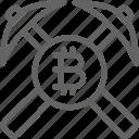 bitcoin, blockchain, coin, cryptocurrency, internet, network, pickax icon