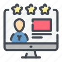 person, profile, rate, rating, star, user, video icon