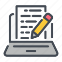 blog, content, laptop, online, pencil, write, writing icon