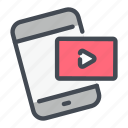 content, mobile, notification, phone, video icon