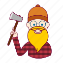 blonde man, european man, job, lenhador, lumberjack, profession, professional, profissão icon