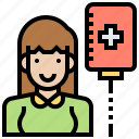 donor, female, patient, sick, woman icon