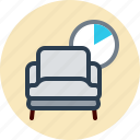 armchair, chair, clock, rest icon