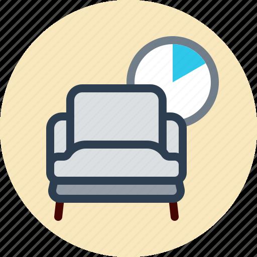 armchair, chair, clock, rest icon