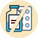 aspirin, medicine, no, sign, tablet icon
