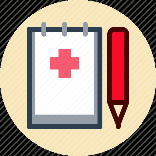history, medical, notebook, pencil icon
