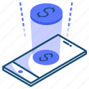 finance, hologram, phone, presentasion icon