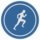 fitness, label, man, round, run, runner icon